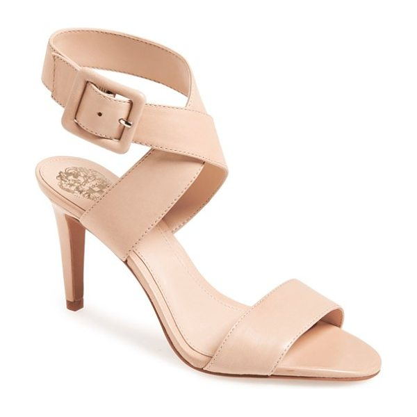 Vince Camuto casara snake embossed leather sandal in beige - A flattering ankle wrap takes center stage on a leather...
