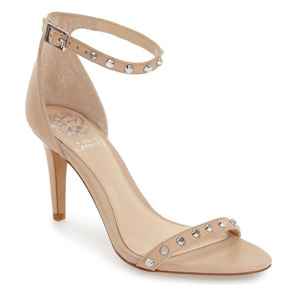 Vince Camuto 'cassandy' studded sandal in powder blush napa leather - Orderly rows of flat-head studs adorn the slender toe...