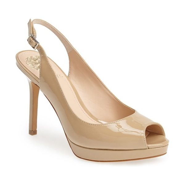 Vince Camuto cavi slingback leather pump in nude - An elegant peep toe and slingback profile extend the...