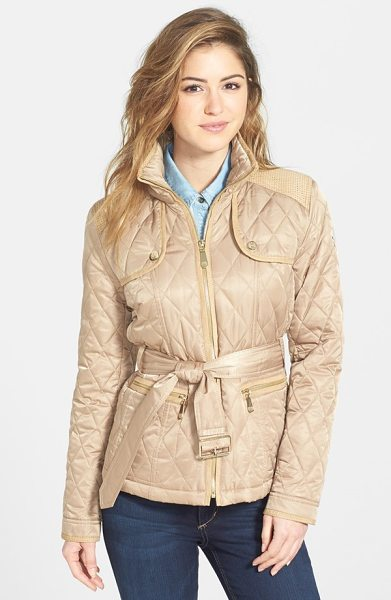 Vince Camuto faux suede trim belted quilted jacket in camel - Goldtone hardware and tonal faux-suede trim refine the...