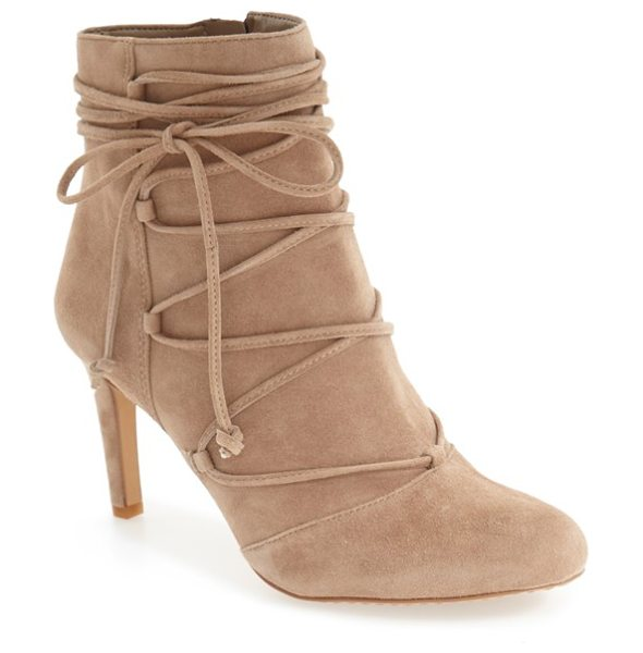 Vince Camuto 'chenai' wraparound lace bootie in khaki suede - Decorative ghillie-style lacing crisscrosses up the...