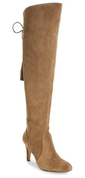 Vince Camuto cherline over the knee boot in brown - A sloped topline and a lace-up split shaft detail this...