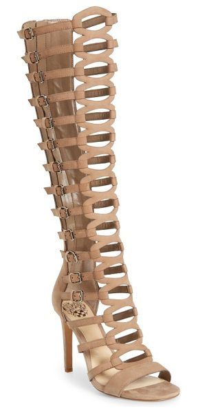 Vince Camuto chesta tall gladiator sandal in beige nubuck leather - Slim, laddered straps climb the knee-high shaft of a...