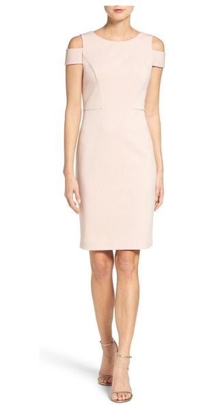 Vince Camuto cold shoulder sheath dress in blush - Cold-shoulder styling and a tailored silhouette make...