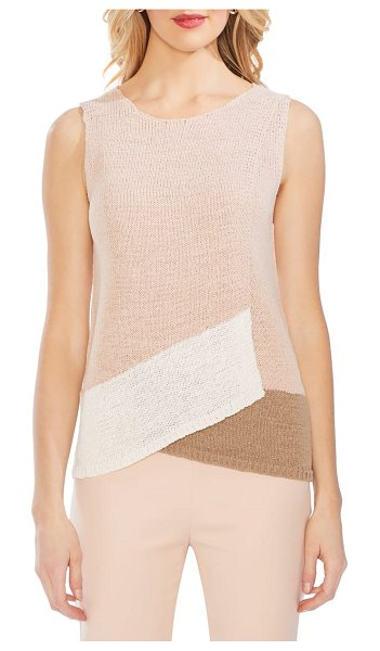 Vince Camuto colorblock crossover detail sleeveless cotton blend sweater in pink - Crossed-over color blocking adds a contemporary attitude...