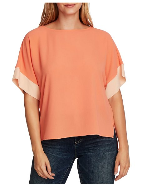 Vince Camuto colorblock short sleeve blouse in pink
