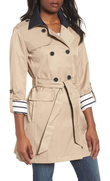 Vince Camuto contrast collar trench coat in khaki - Updated in a shorter length for spring, this trench coat...
