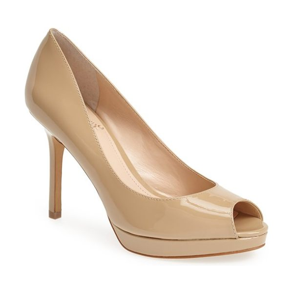 Vince Camuto coper peep toe leather pump in nude - Liquid-shine patent leather highlights the sleek curves...