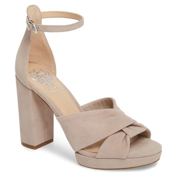 Vince Camuto corlesta sandal in beige - A lofty column heel enhances the modern sophistication...