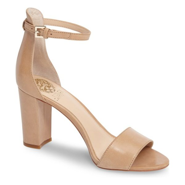 Vince Camuto corlina ankle strap sandal in nude leather - Slender straps at the toe and ankle define the barely...