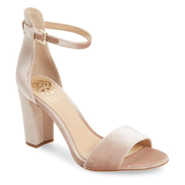 Vince Camuto corlina ankle strap sandal in blush velvet - Slender straps at the toe and ankle define the barely...