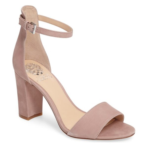 Vince Camuto corlina ankle strap sandal in rose quartz nubuck leather - Slender straps at the toe and ankle define the barely...