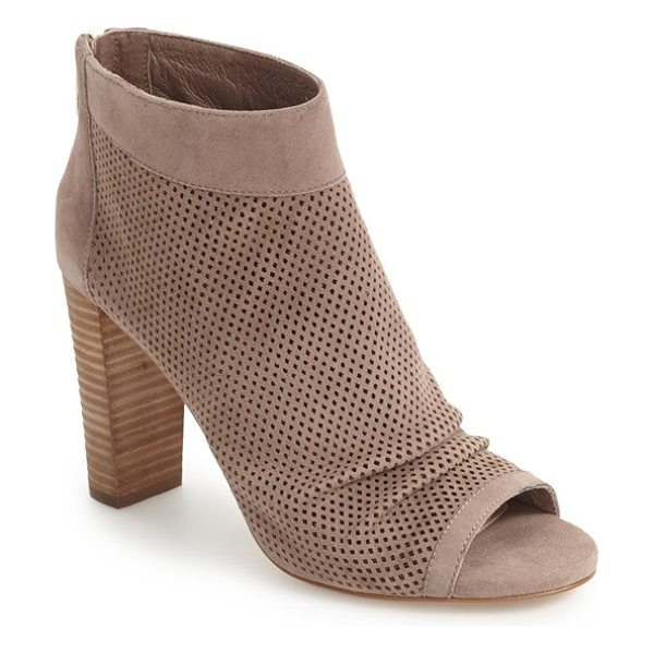 Vince Camuto cosima open toe bootie in stone taupe suede - Graceful pleats and tiny laser perforations enhance the...
