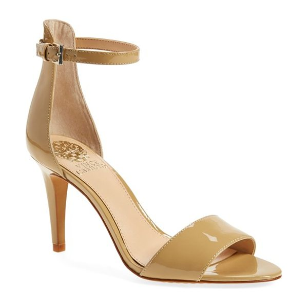 VINCE CAMUTO court ankle strap sandal in nude patent - A slim ankle strap lends a dash of on-trend elegance to...