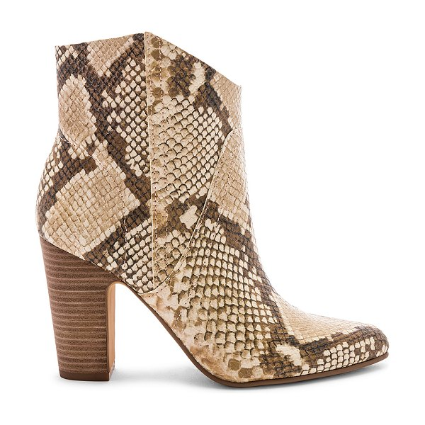 """Vince Camuto Creestal Bootie in brown - """"Snakeskin embossed leather upper with man made sole...."""