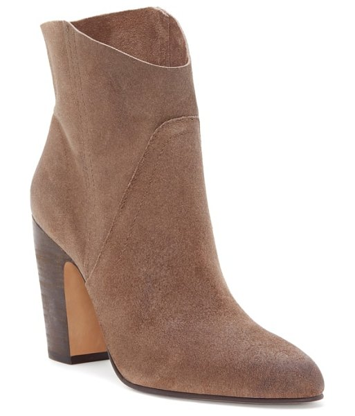 Vince Camuto creestal western bootie in bedrock leather - Classic Western style gets a city-slicker twist on a...