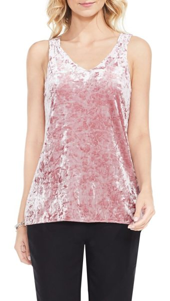 Vince Camuto crushed velvet knit tank in iced rose - This supple, comfortable layer of shimmering crushed...