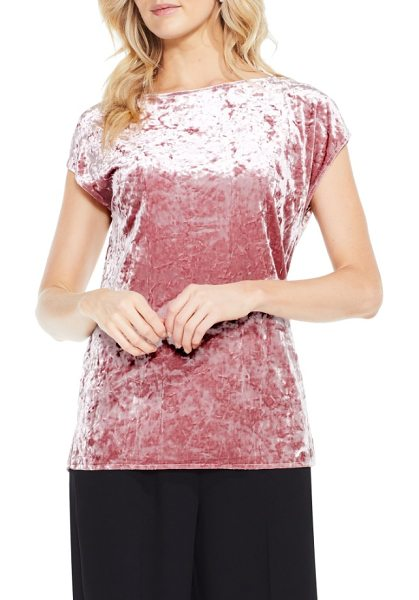 Vince Camuto crushed velvet knit tee in iced rose - Add instant luxe to any fall look with this easy...