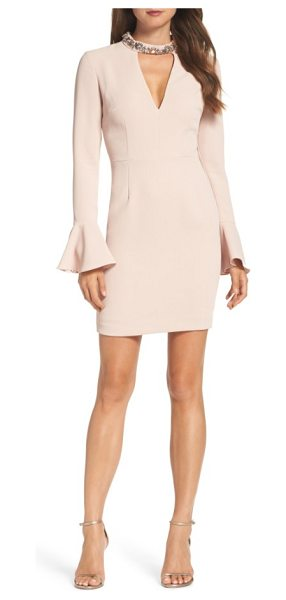 Vince Camuto crystal choker bell sleeve sheath dress in blush - Radiant rhinestones cluster around the sleek collar,...