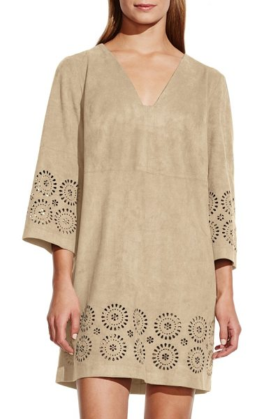 Vince Camuto cutout faux suede shift dress in sand dune - Slip into a festival state of mind with this short shift...