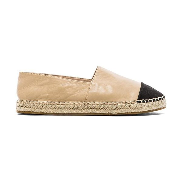 Vince Camuto Dally espadrille in taupe - Leather upper with rubber sole. Slip-on styling. Canvas...