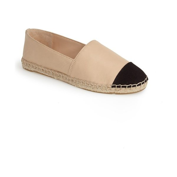 Vince Camuto dally leather espadrille flat in beige - A tonal canvas cap toe and ropy espadrille trim add...