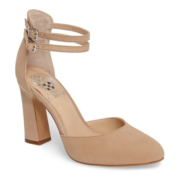 Vince Camuto dorinda pump in nude suede - Slim ankle straps and an architectural heel distinguish...