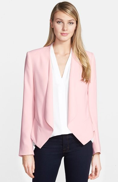 Vince Camuto drape front blazer in taffy pink - An open, draped front adds soft ease to a tuxedo-style...