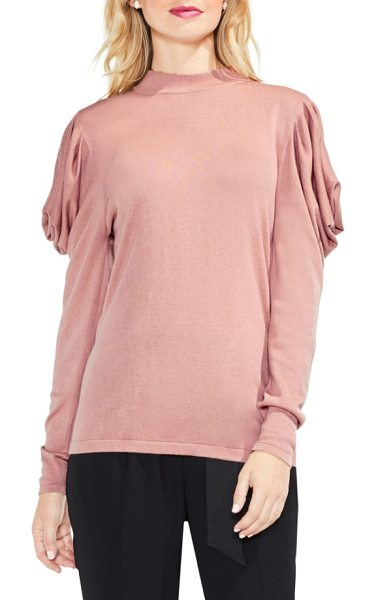 Vince Camuto drape shoulder sweater in rose taupe - An elegantly draped detail at the shoulders transforms...