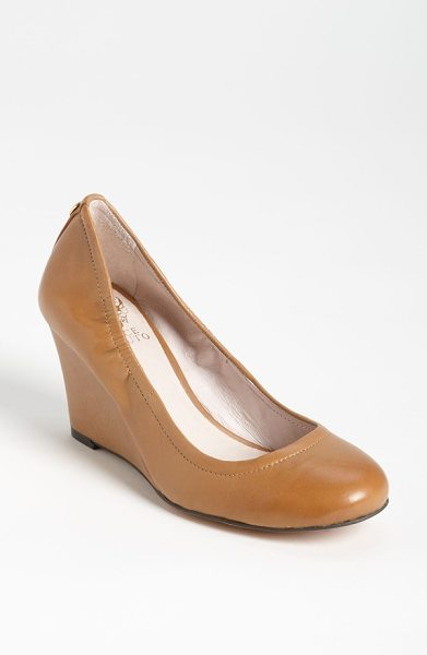 Vince Camuto elmay pump in beach wood - Polished leather comprises a wrapped-wedge pump,...