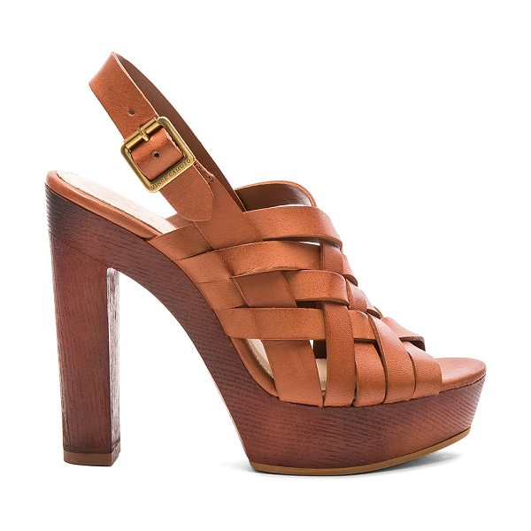 Vince Camuto Elyza heel in cognac - Leather upper with man made sole. Ankle strap with...