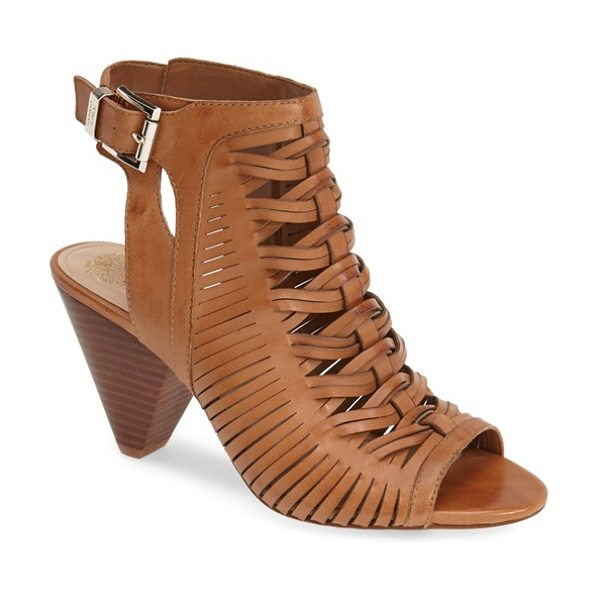 Vince Camuto emore leather sandal in tan - Huarache-inspired texture defines an open-back peep-toe...