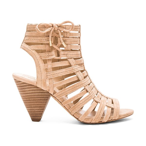 Vince Camuto Evinia heel in beige - Suede upper with man made sole. Side zip closure. Side...