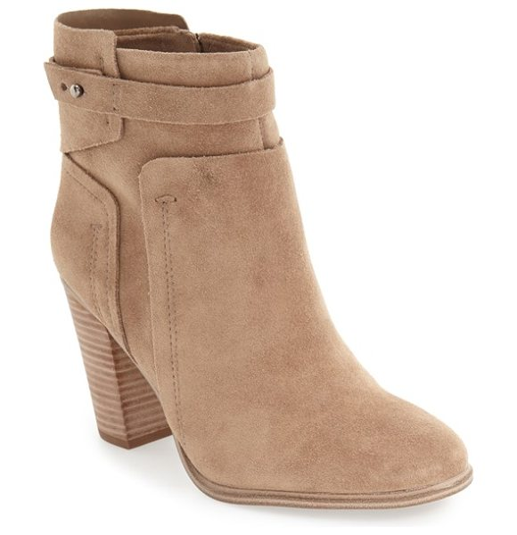 Vince Camuto faythe bootie in khaki suede - A burnished leather bootie offers modern sophistication...