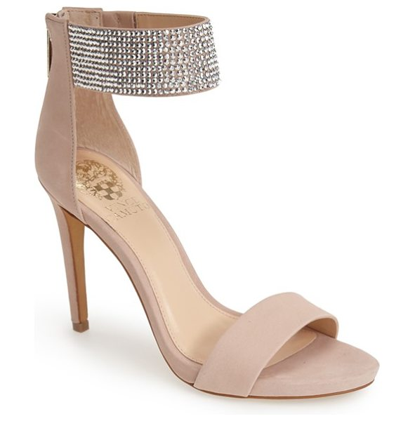 Vince Camuto fyell ankle cuff sandal in sandbar - Crystal embellishments sparkle on the sleek ankle cuff...