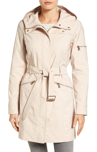 Vince Camuto hooded belted trench coat in blossom - An attached hood and a handful of pockets define the...