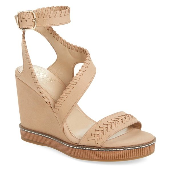 Vince Camuto ivanta wedge in almond beige - Tonal whipstitching and a curved strap define a leather...