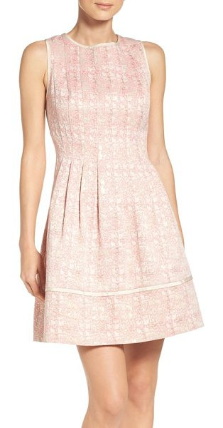 Vince Camuto jacquard fit & flare dress in pink - A striking woven jacquard pattern elevates a sleeveless...