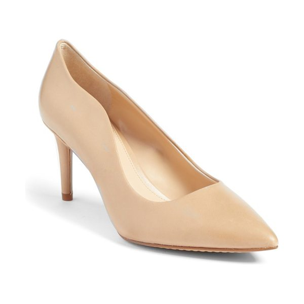 Vince Camuto jaynita pointy toe pump in nude leather - A curvy topline adds a more flirtatious feel to a...