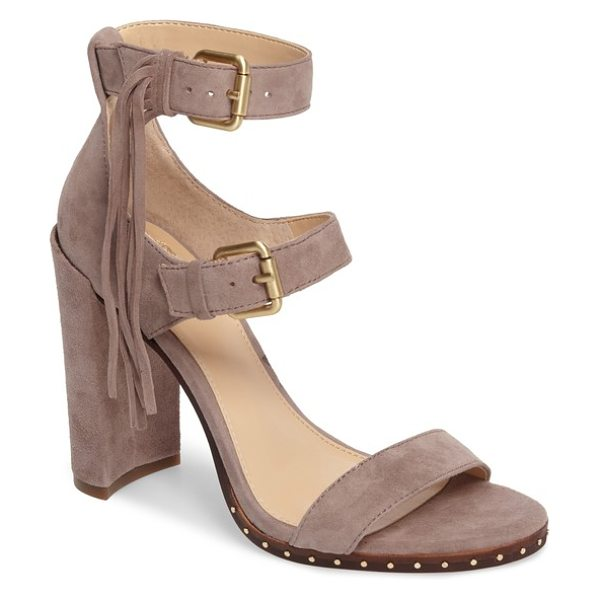 Vince Camuto jesina sandal in mesa taupe suede - Boho or cowgirl, this triple-strap sandal with a...
