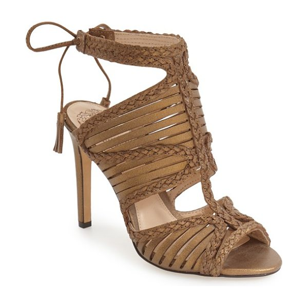 Vince Camuto 'kabira' strappy sandal in bronze leather - Laser-cut straps framed by sinuous braiding embrace the...