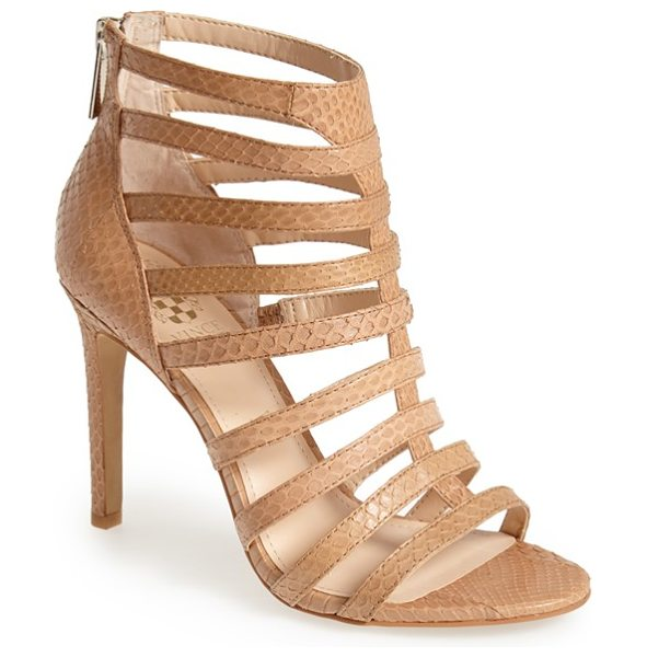 VINCE CAMUTO kamella snake embossed leather caged sandal in buff - Strappy styling and snake-embossing make this supple...