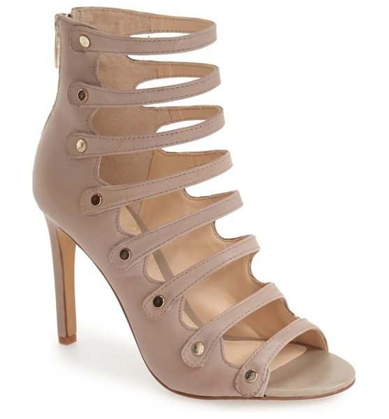 Vince Camuto 'kanastas' strappy pump in cashmere - Gleaming metal buttons secure the slender laddered...