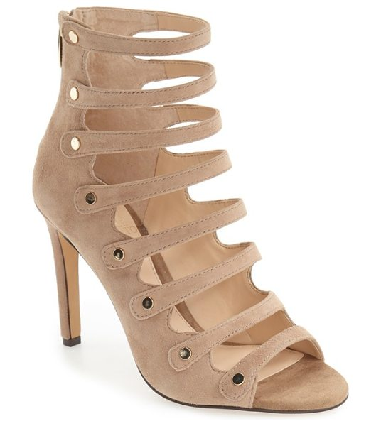 Vince Camuto 'kanastas' strappy pump in khaki suede - Gleaming metal buttons secure the slender laddered...