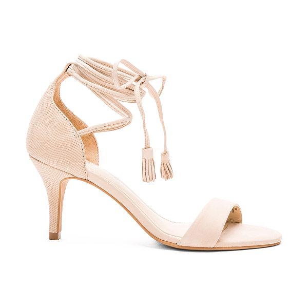 Vince Camuto Kathin heel in beige - Leather upper with man made sole. Wrap ankle with fringe...