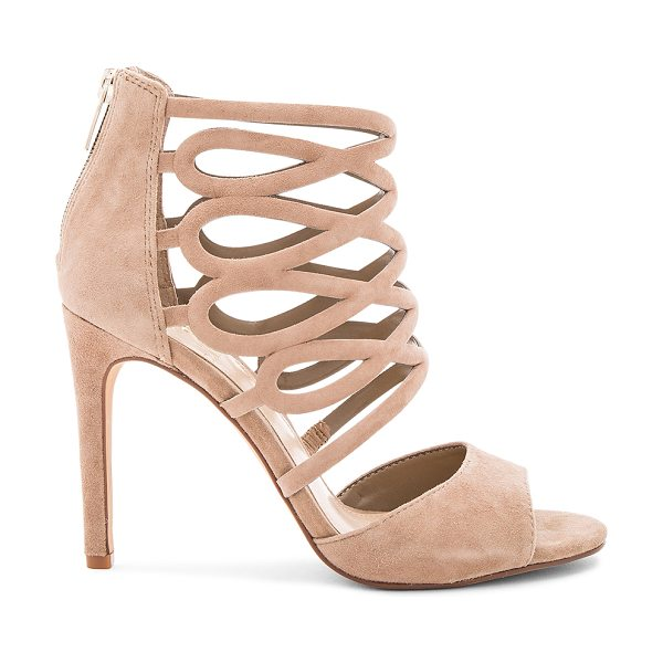 VINCE CAMUTO Kirsi Heels in khaki - Suede upper with man made sole. Caged cut-out detail....