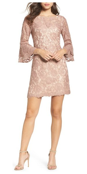 Vince Camuto lace bell sleeve dress in blush - A classic shift gets a chic update from floral lace and...
