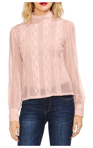 Vince Camuto lace & chiffon top in pink - Lacy accents give charm to this airy chiffon blouse...