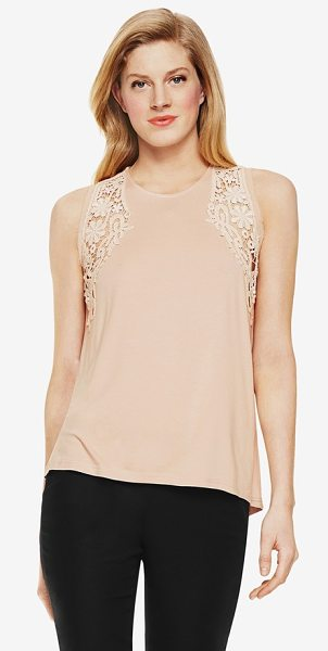 Vince Camuto lace inset sleeveless top in apricot ice - Delicate lace insets put an elegant face on a soft...