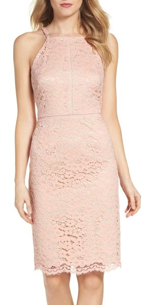 Vince Camuto lace sheath dress in peach - Floral lace softens the smart silhouette of this pencil...
